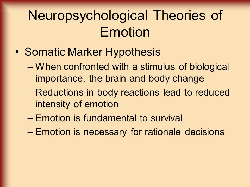 Neuropsychological Theories of Emotion Somatic Marker Hypothesis –When confronted with a stimulus of biological importance, the brain and body change –Reductions in body reactions lead to reduced intensity of emotion –Emotion is fundamental to survival –Emotion is necessary for rationale decisions