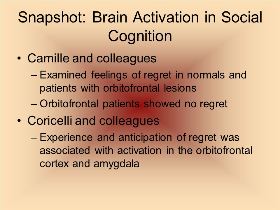 Snapshot: Brain Activation in Social Cognition Camille and colleagues –Examined feelings of regret in normals and patients with orbitofrontal lesions –Orbitofrontal patients showed no regret Coricelli and colleagues –Experience and anticipation of regret was associated with activation in the orbitofrontal cortex and amygdala