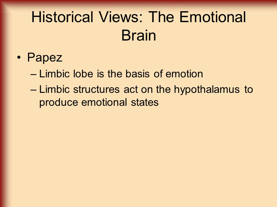 Historical Views: The Emotional Brain Papez –Limbic lobe is the basis of emotion –Limbic structures act on the hypothalamus to produce emotional states