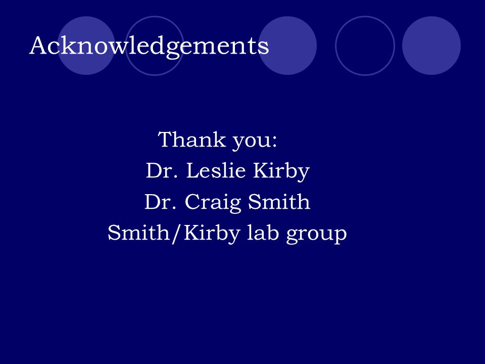 Acknowledgements Thank you: Dr. Leslie Kirby Dr. Craig Smith Smith/Kirby lab group