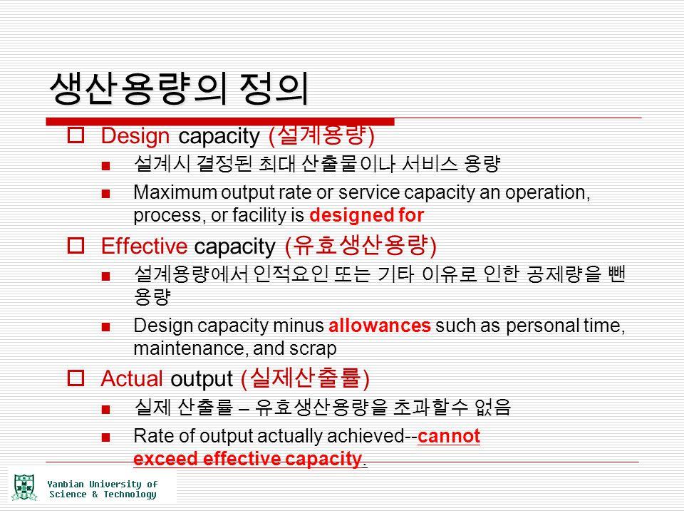 생산용량의 정의  Design capacity ( 설계용량 ) 설계시 결정된 최대 산출물이나 서비스 용량 Maximum output rate or service capacity an operation, process, or facility is designed for