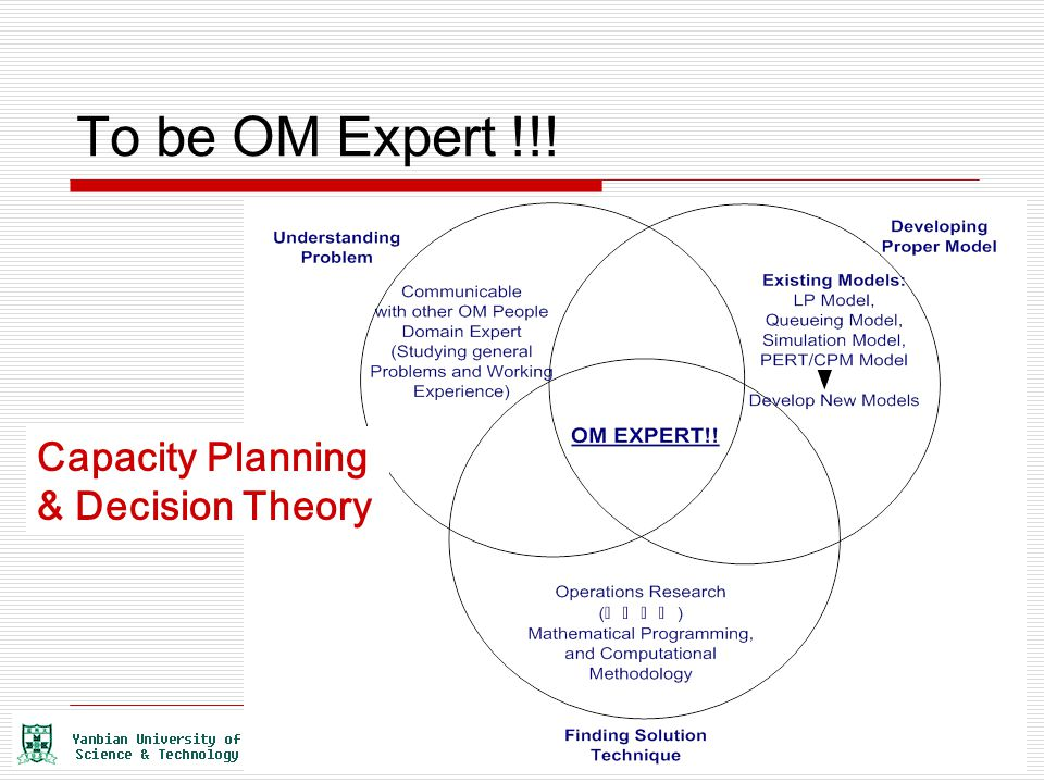 To be OM Expert !!! Capacity Planning & Decision Theory