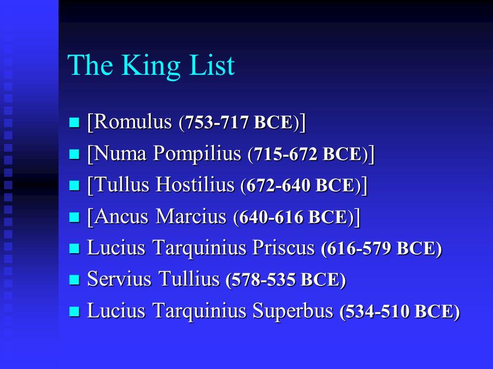 The King List [Romulus (753-717 BCE) ] [Romulus (753-717 BCE) ] [Numa Pompilius (715-672 BCE) ] [Numa Pompilius (715-672 BCE) ] [Tullus Hostilius (672