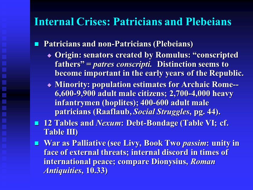 Internal Crises: Patricians and Plebeians Patricians and non-Patricians (Plebeians) Patricians and non-Patricians (Plebeians)  Origin: senators creat