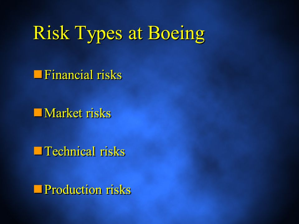 Risk Types at Boeing Financial risks Market risks Technical risks Production risks Financial risks Market risks Technical risks Production risks
