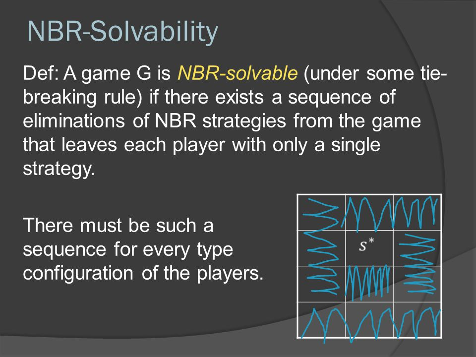 NBR-Solvability Def: A game G is NBR-solvable (under some tie- breaking rule) if there exists a sequence of eliminations of NBR strategies from the game that leaves each player with only a single strategy.
