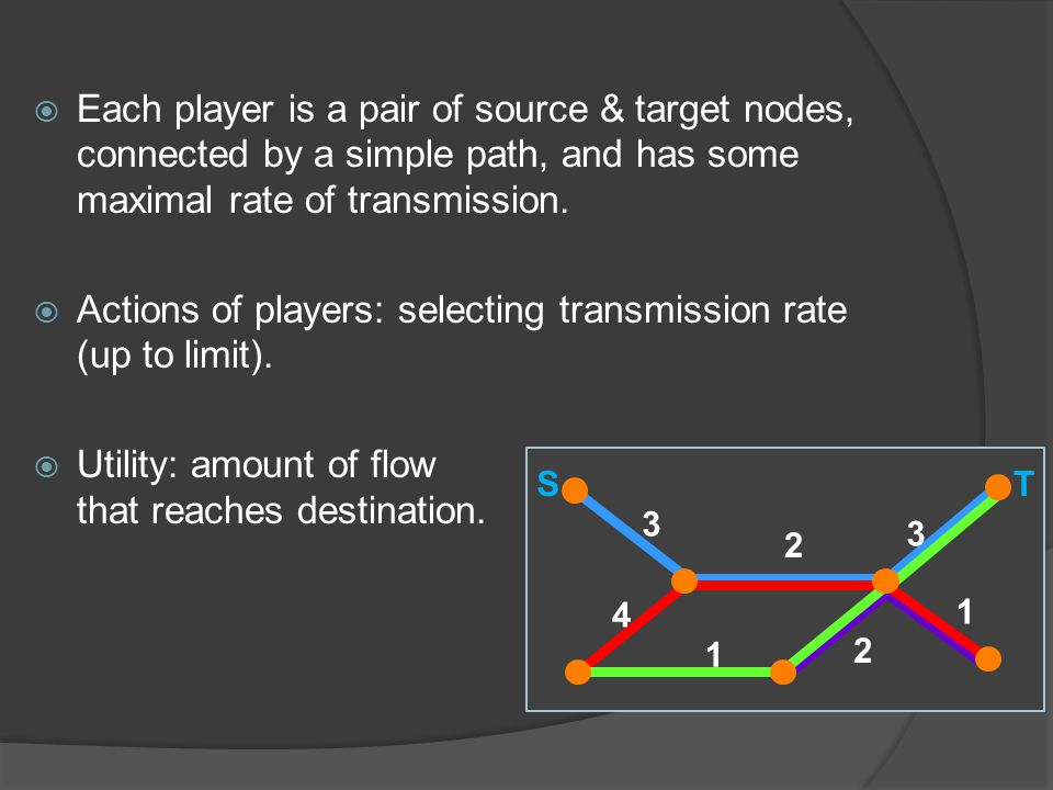  Each player is a pair of source & target nodes, connected by a simple path, and has some maximal rate of transmission.