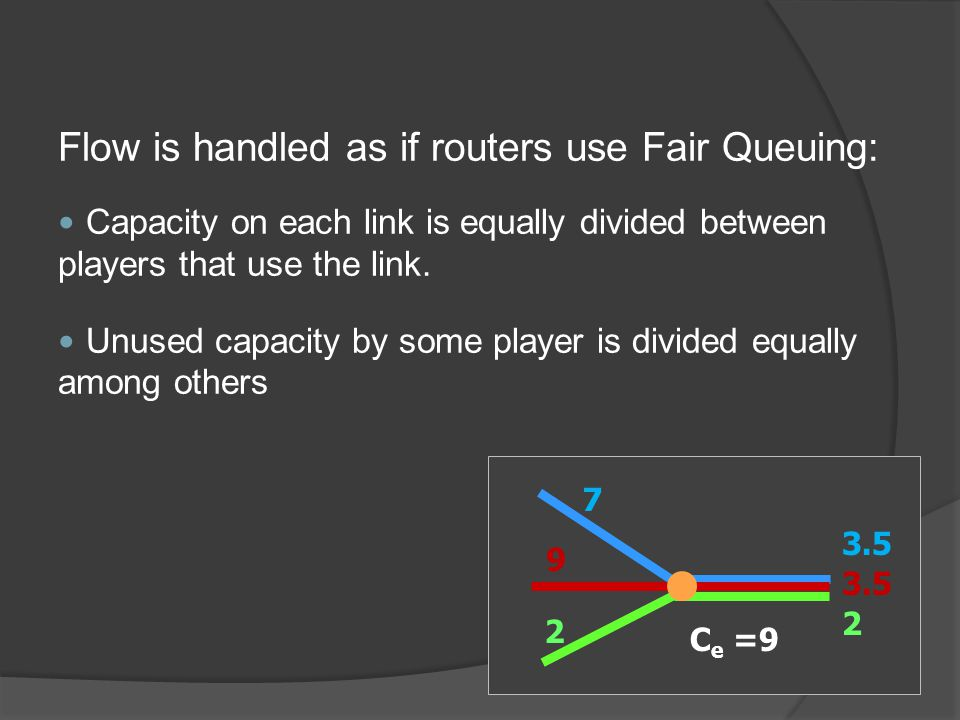 Flow is handled as if routers use Fair Queuing: Capacity on each link is equally divided between players that use the link.