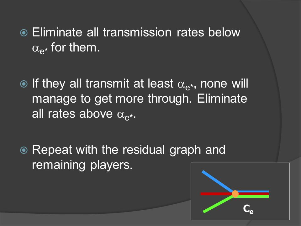  Eliminate all transmission rates below  e* for them.