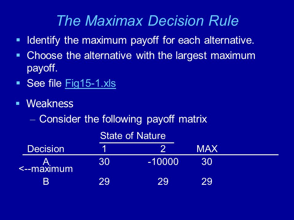 The Maximax Decision Rule  Identify the maximum payoff for each alternative.