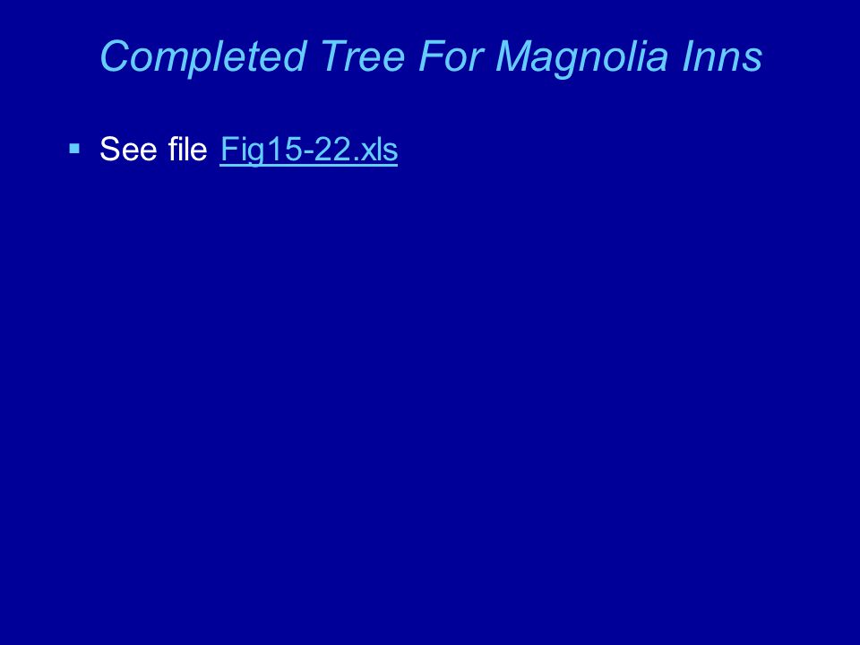 Completed Tree For Magnolia Inns  See file Fig15-22.xlsFig15-22.xls