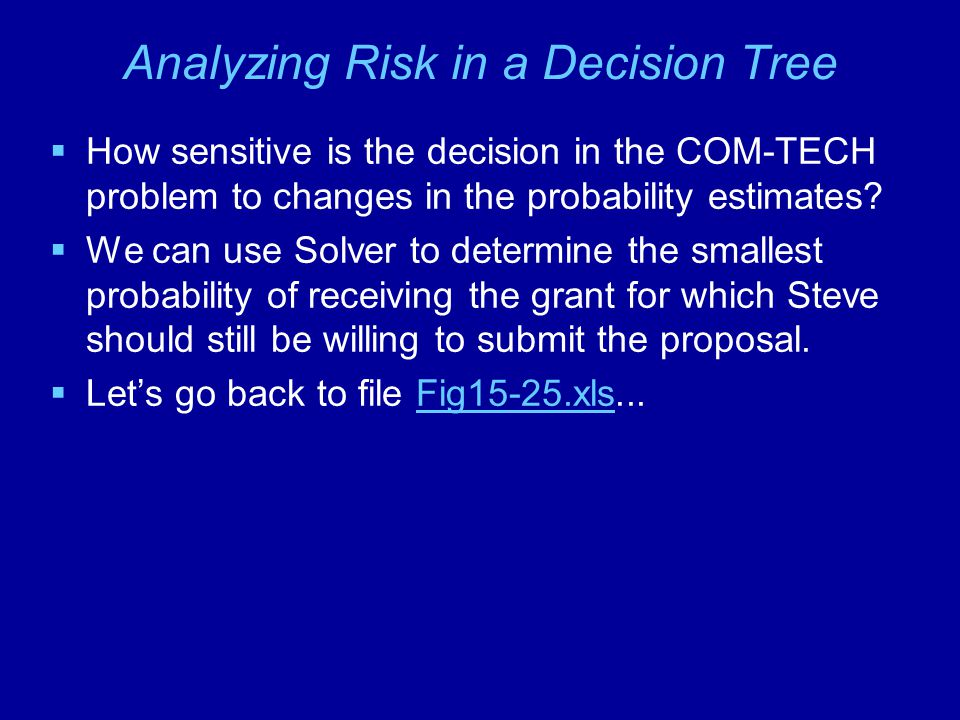 Analyzing Risk in a Decision Tree  How sensitive is the decision in the COM-TECH problem to changes in the probability estimates.