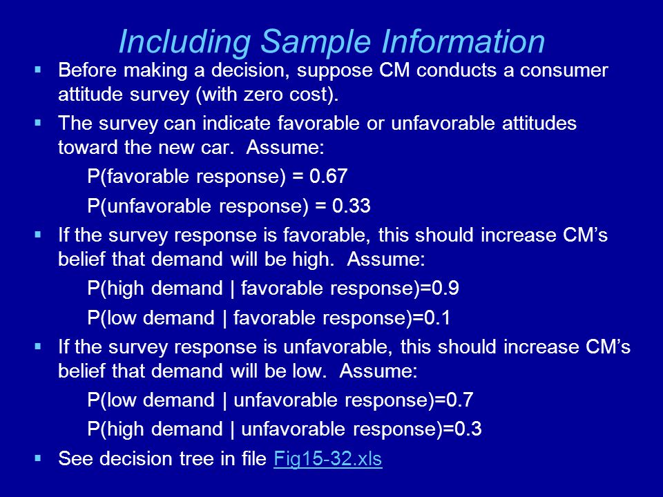 Including Sample Information  Before making a decision, suppose CM conducts a consumer attitude survey (with zero cost).