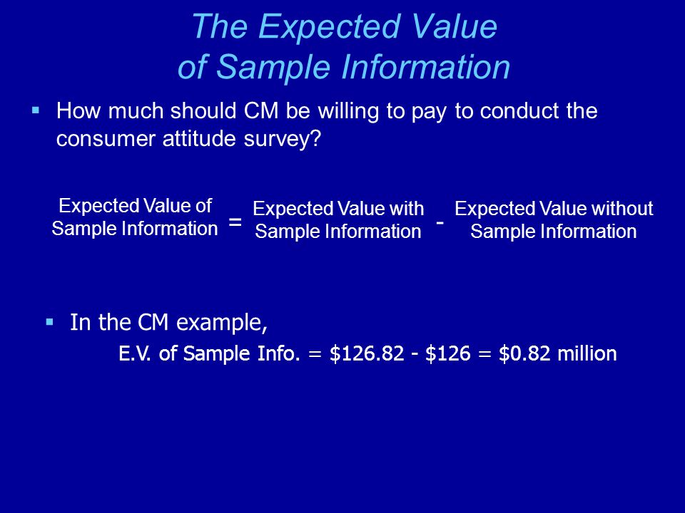 The Expected Value of Sample Information  How much should CM be willing to pay to conduct the consumer attitude survey.