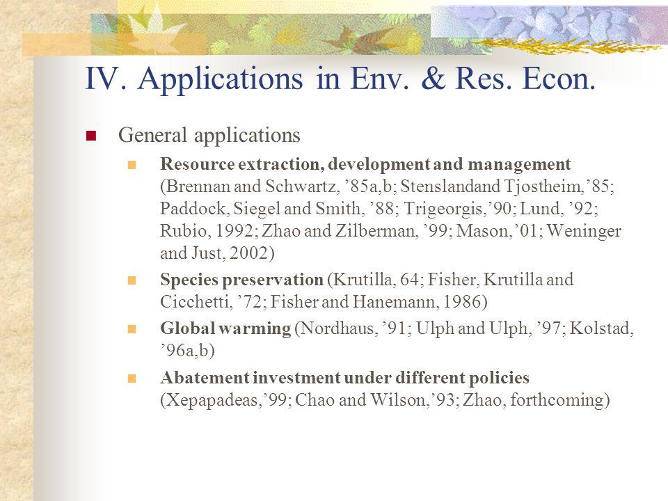 IV. Applications in Env. & Res. Econ.