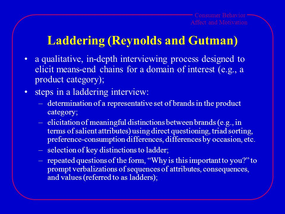 Consumer Behavior Affect and Motivation Laddering (Reynolds and Gutman) a qualitative, in-depth interviewing process designed to elicit means-end chains for a domain of interest (e.g., a product category); steps in a laddering interview: –determination of a representative set of brands in the product category; –elicitation of meaningful distinctions between brands (e.g., in terms of salient attributes) using direct questioning, triad sorting, preference-consumption differences, differences by occasion, etc.