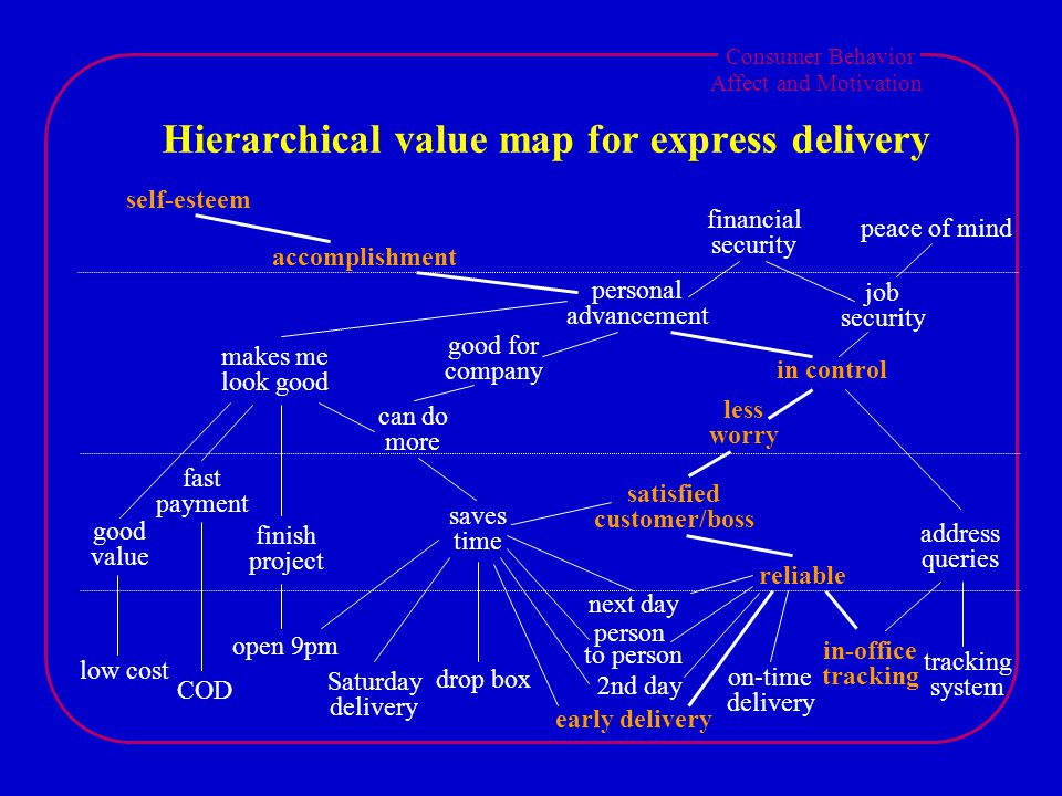 Consumer Behavior Affect and Motivation Hierarchical value map for express delivery low cost COD open 9pm Saturday delivery drop box early delivery person to person 2nd day next day on-time delivery in-office tracking system good value fast payment finish project saves time satisfied customer/boss reliable address queries can do more makes me look good good for company less worry in control job security personal advancement self-esteem accomplishment financial security peace of mind