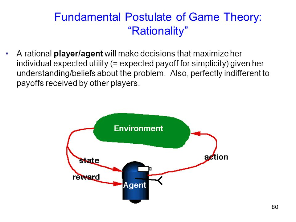 81 Basics of game theory A game is specified by: players (1…N), actions, and (expected) payoff matrices (functions of joint actions) B's action A's action A's payoff B's payoff If payoff matrices are identical, A and B are cooperative, else non-cooperative (zero-sum = purely competitive)