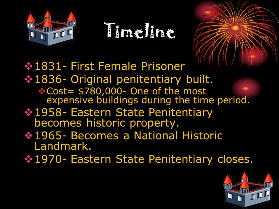 Timeline  1831- First Female Prisoner  1836- Original penitentiary built.
