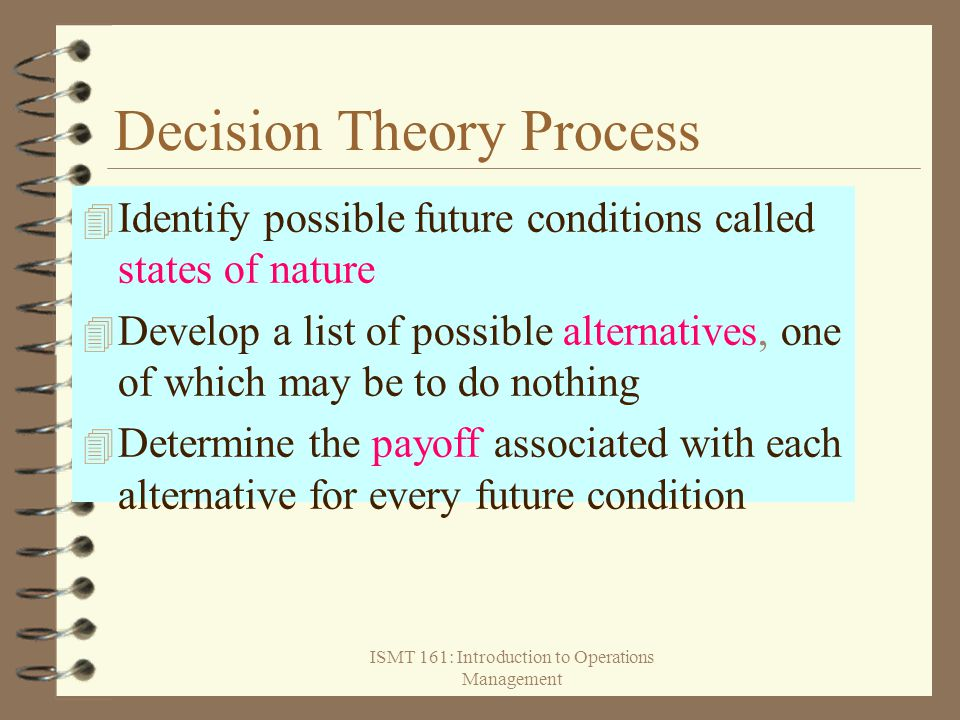 ISMT 161: Introduction to Operations Management Decision Theory Process  Identify possible future conditions called states of nature  Develop a list