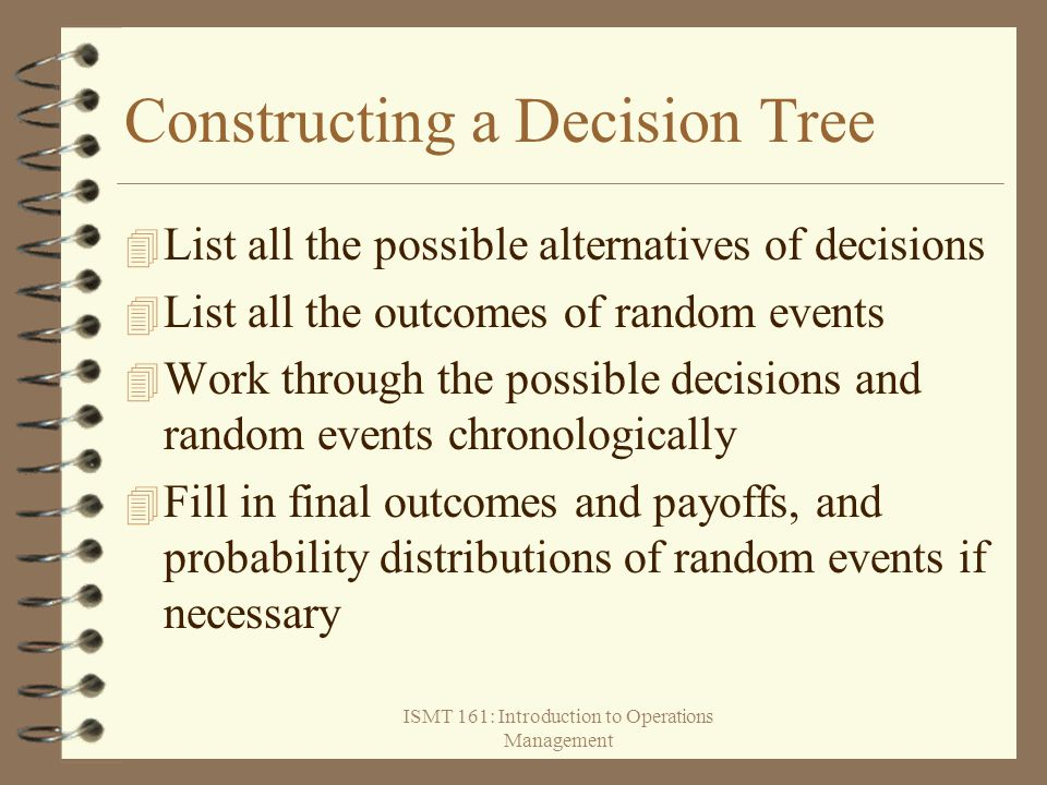 ISMT 161: Introduction to Operations Management Constructing a Decision Tree 4 List all the possible alternatives of decisions 4 List all the outcomes