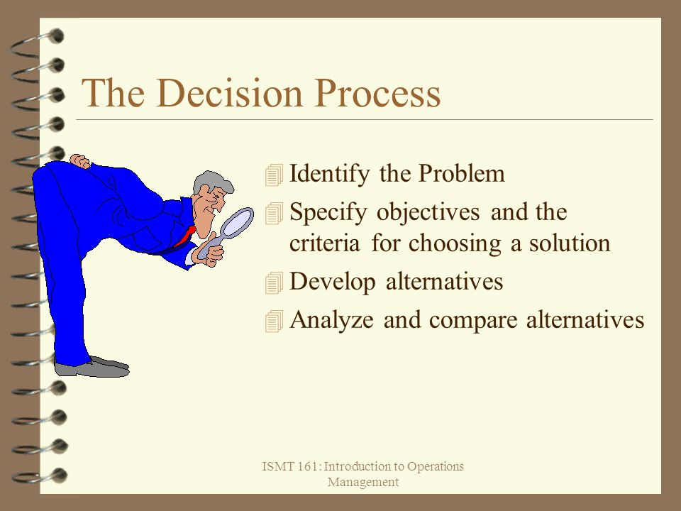 ISMT 161: Introduction to Operations Management The Decision Process  Identify the Problem  Specify objectives and the criteria for choosing a solut