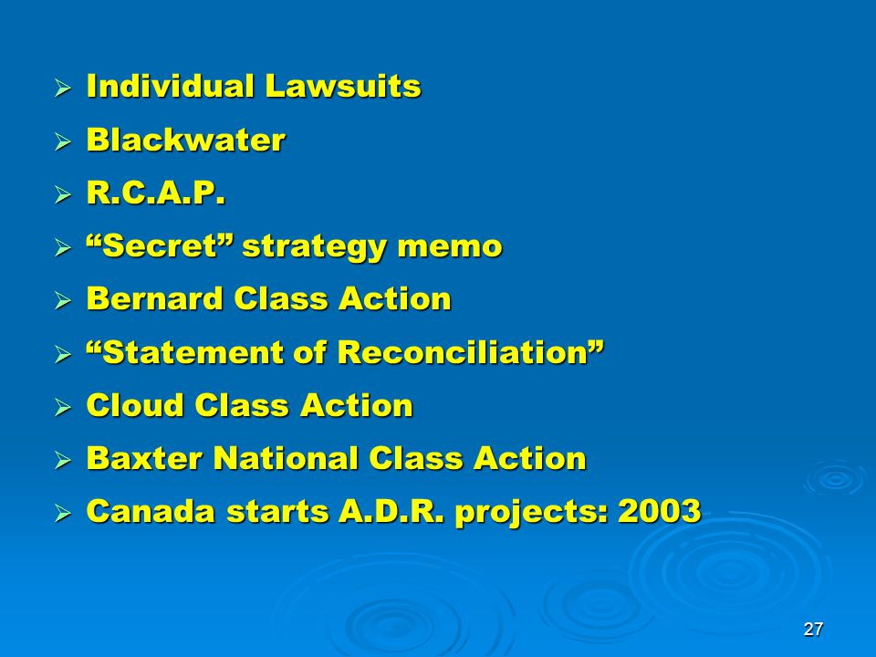 27  Individual Lawsuits  Blackwater  R.C.A.P.