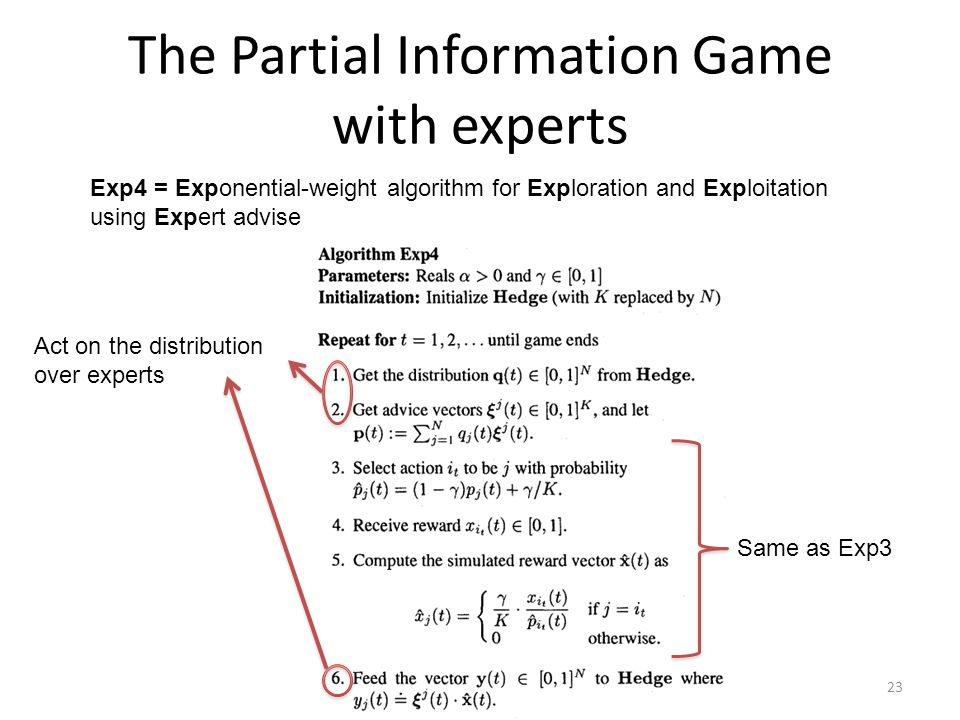 The Partial Information Game with experts Exp4 = Exponential-weight algorithm for Exploration and Exploitation using Expert advise Act on the distribu