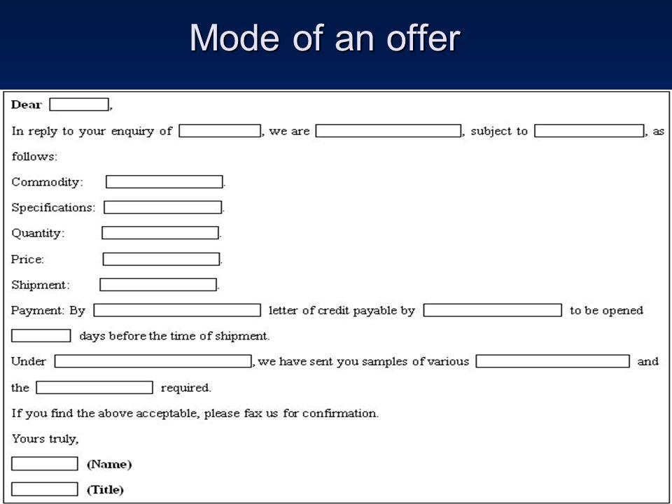 Mode of an offer