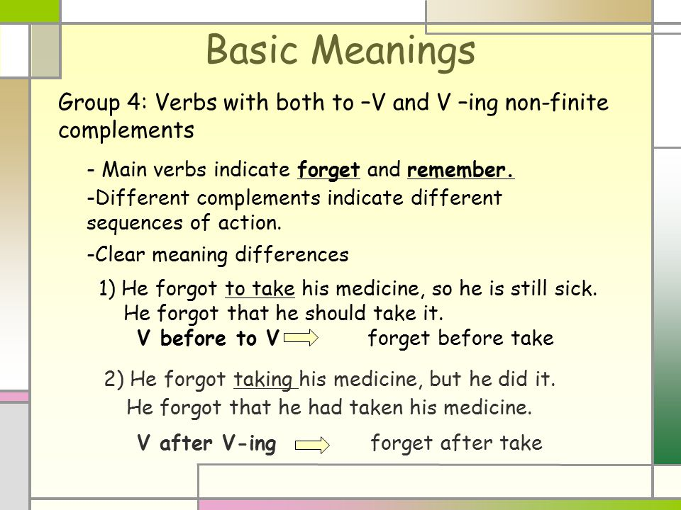 Basic Meanings Group 4: Verbs with both to –V and V –ing non-finite complements - Main verbs indicate forget and remember. -Different complements indi