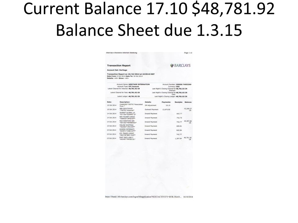 Current Balance 17.10 $48,781.92 Balance Sheet due 1.3.15