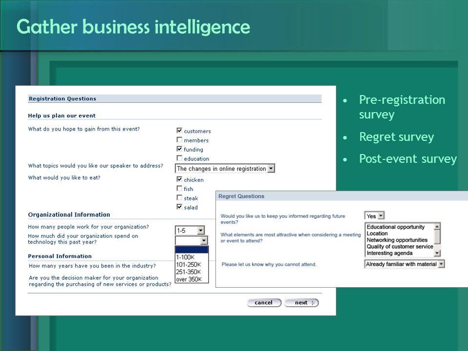 Gather business intelligence Pre-registration survey Regret survey Post-event survey