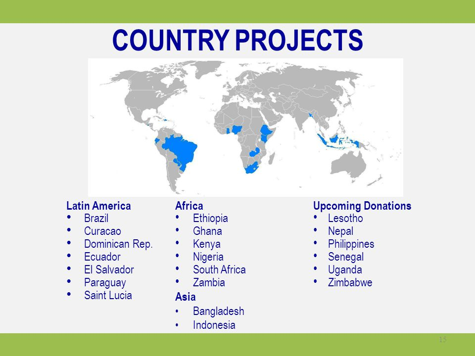COUNTRY PROJECTS Latin America Brazil Curacao Dominican Rep. Ecuador El Salvador Paraguay Saint Lucia Africa Ethiopia Ghana Kenya Nigeria South Africa