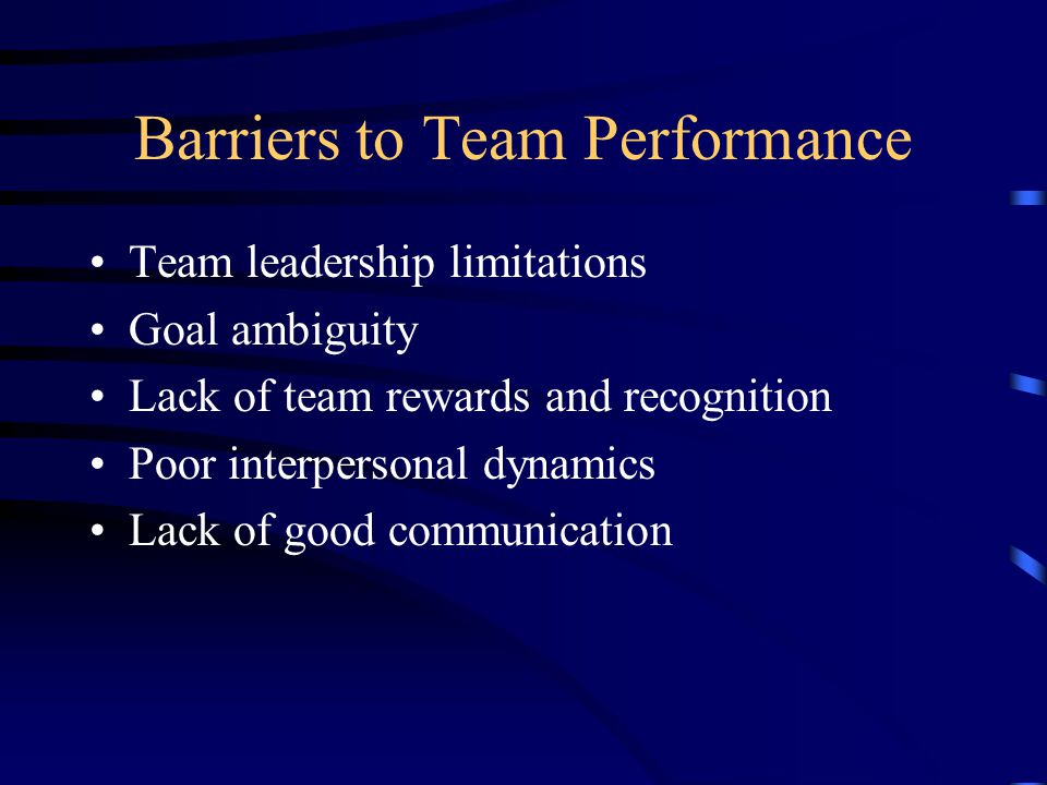 Barriers to Team Performance Team leadership limitations Goal ambiguity Lack of team rewards and recognition Poor interpersonal dynamics Lack of good communication