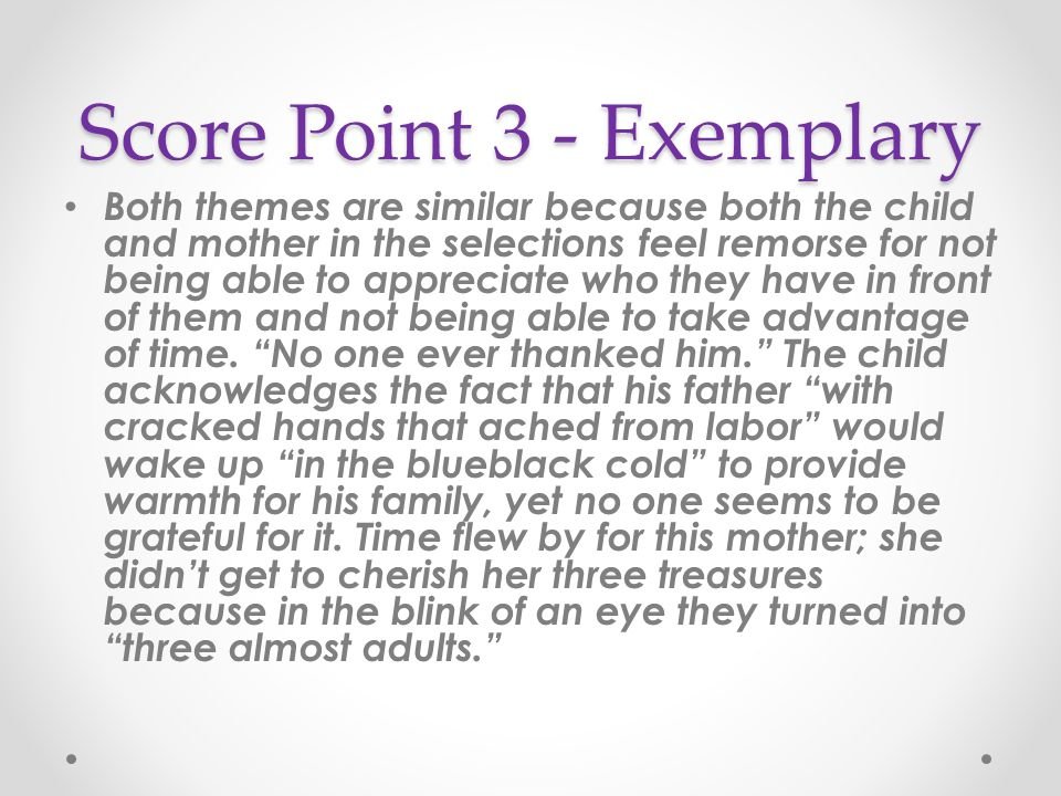 Score Point 3 - Exemplary Both themes are similar because both the child and mother in the selections feel remorse for not being able to appreciate wh