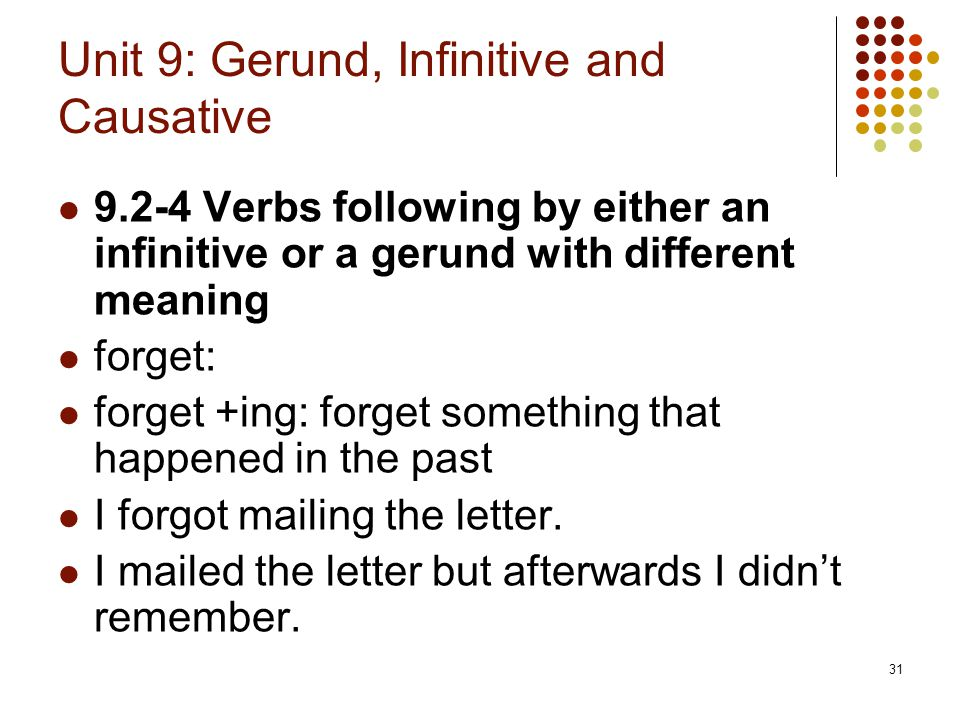 31 Unit 9: Gerund, Infinitive and Causative 9.2-4 Verbs following by either an infinitive or a gerund with different meaning forget: forget +ing: forg