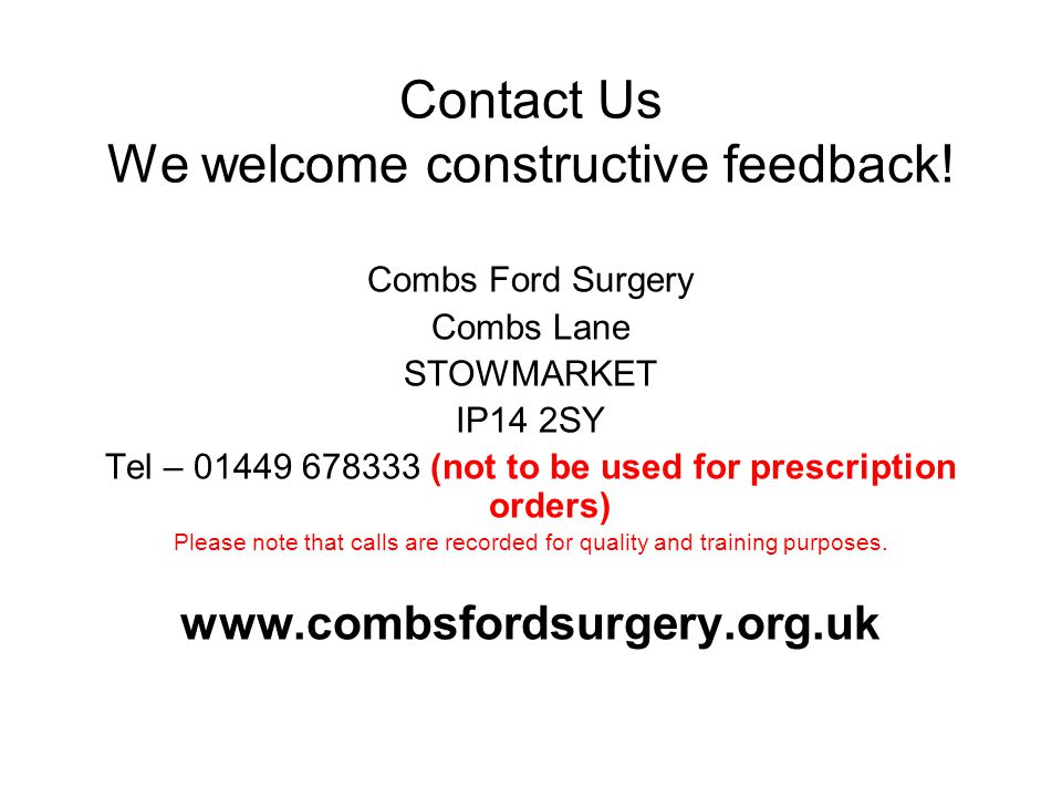 Contact Us We welcome constructive feedback.