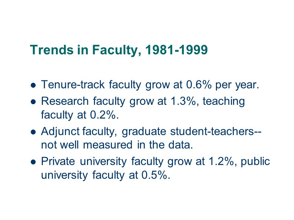 11 Trends in Faculty, 1981-1999 Tenure-track faculty grow at 0.6% per year.