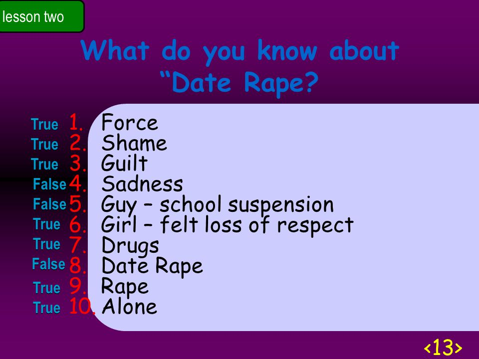 lesson two What do you know about Date Rape.