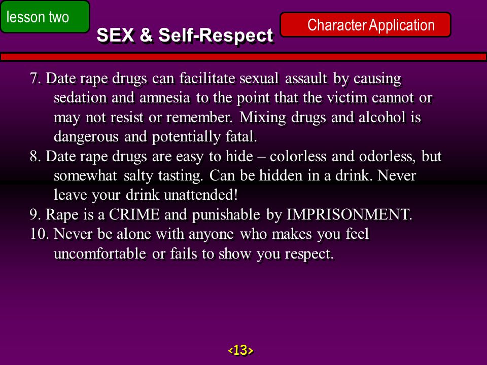 Character Application SEX & Self-Respect lesson two 7.