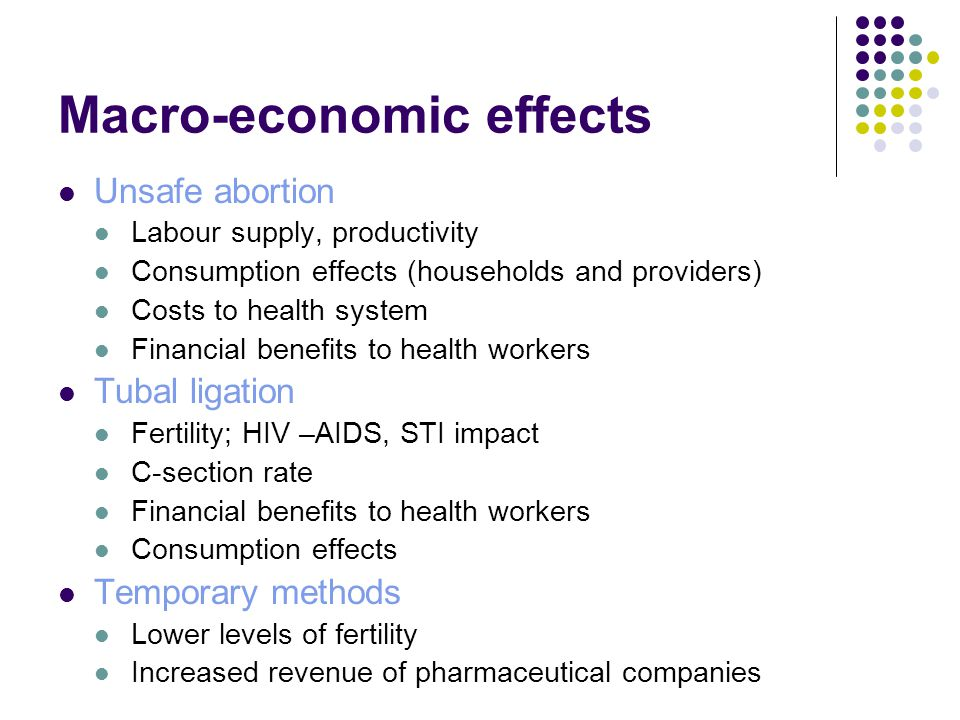 Macro-economic effects Unsafe abortion Labour supply, productivity Consumption effects (households and providers) Costs to health system Financial benefits to health workers Tubal ligation Fertility; HIV –AIDS, STI impact C-section rate Financial benefits to health workers Consumption effects Temporary methods Lower levels of fertility Increased revenue of pharmaceutical companies