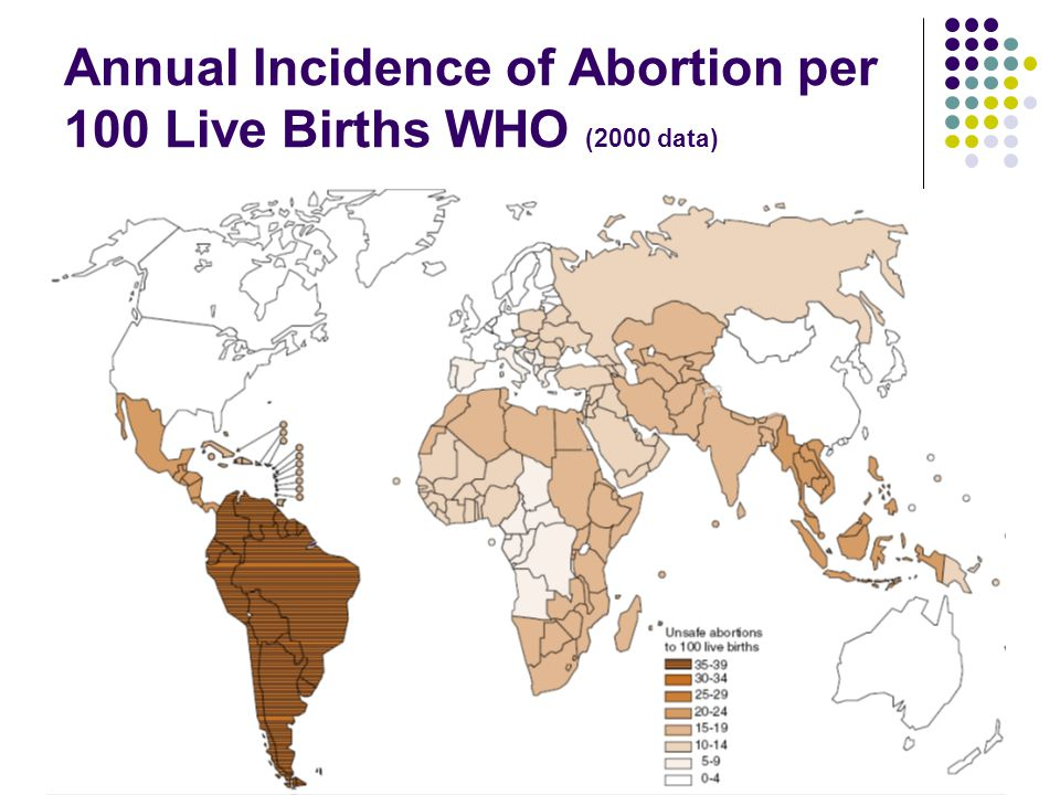 Annual Incidence of Abortion per 100 Live Births WHO (2000 data)