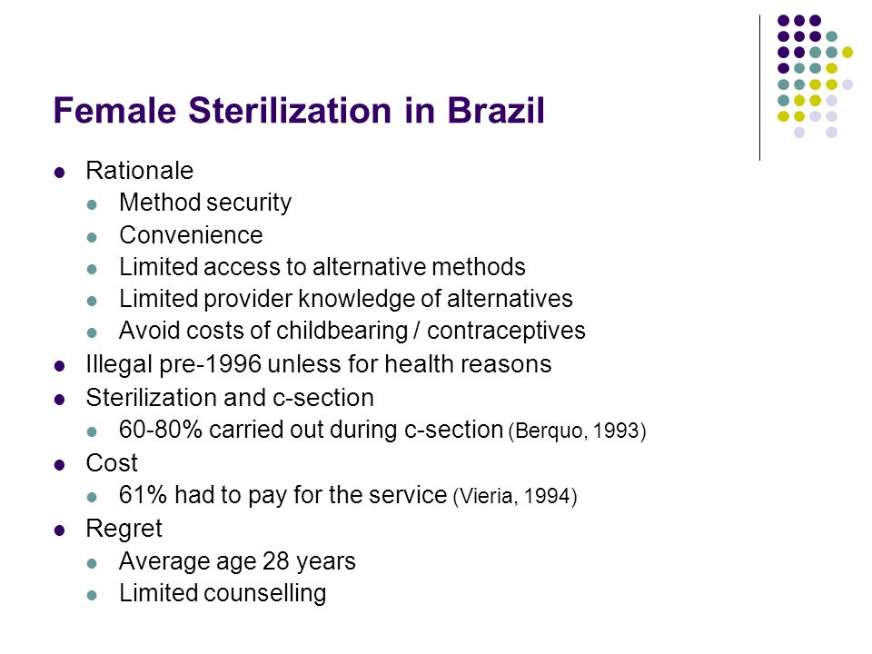 Abortion in Brazil Legality Frequency 2 abortions per year per 100 women of RA Health system impact 1.7% of hospital admissions due to unsafe abortion