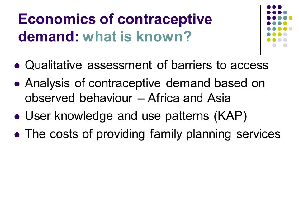 Economics of contraceptive demand: what is known.