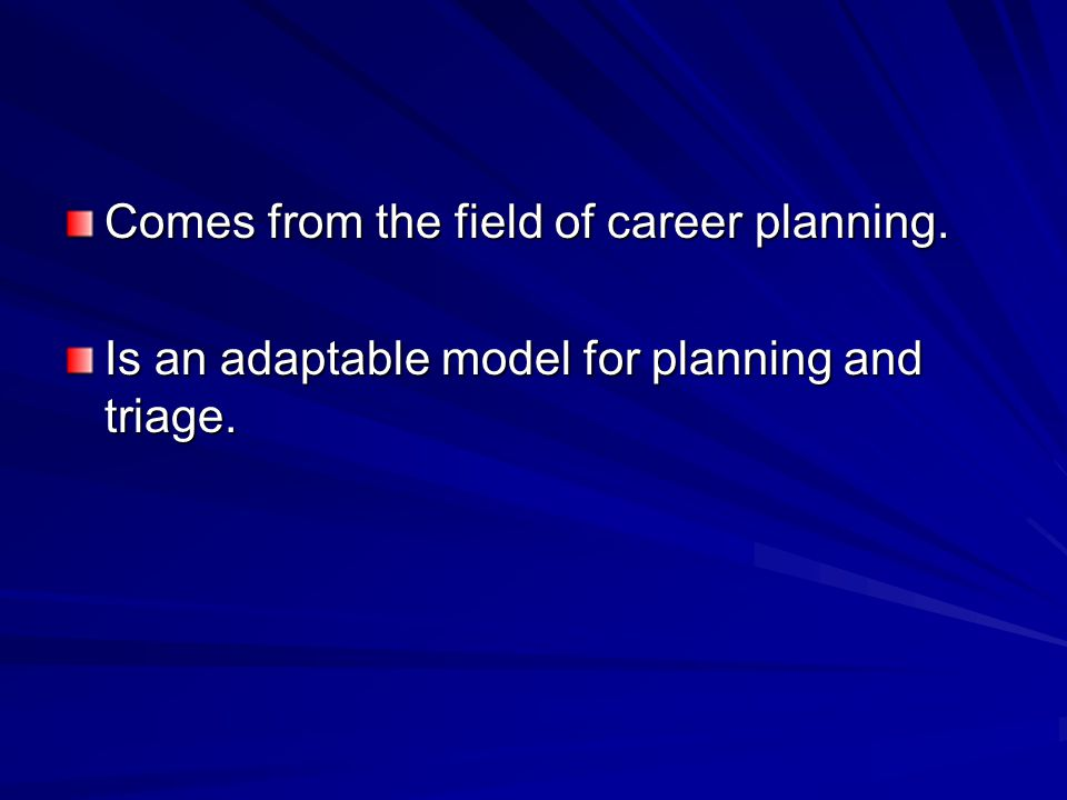 Comes from the field of career planning. Is an adaptable model for planning and triage.