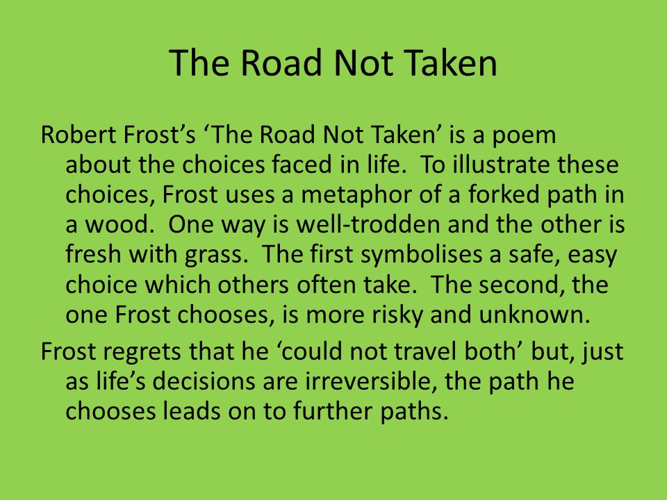 The road not taken essay thesis example