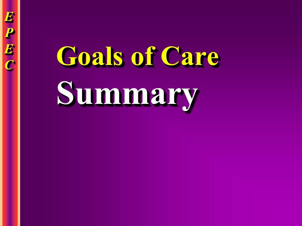 EPECEPECEPECEPEC EPECEPECEPECEPEC Goals of Care Summary Summary