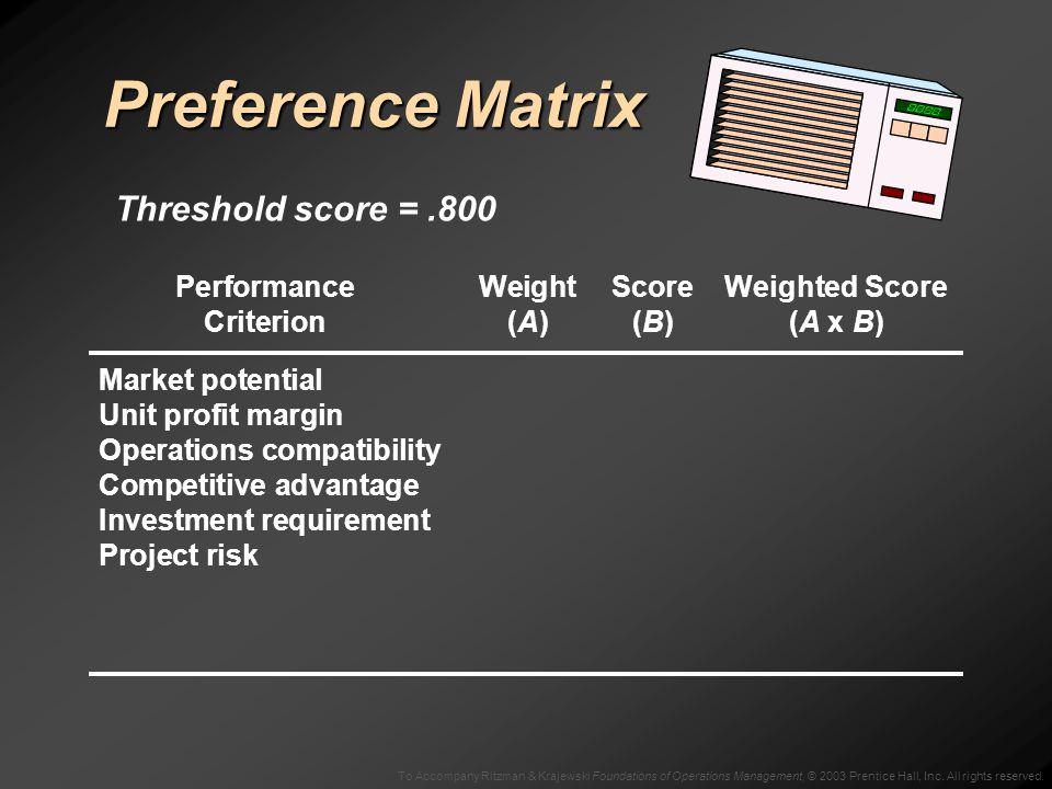 To Accompany Ritzman & Krajewski Foundations of Operations Management, © 2003 Prentice Hall, Inc. All rights reserved. Preference Matrix PerformanceWe