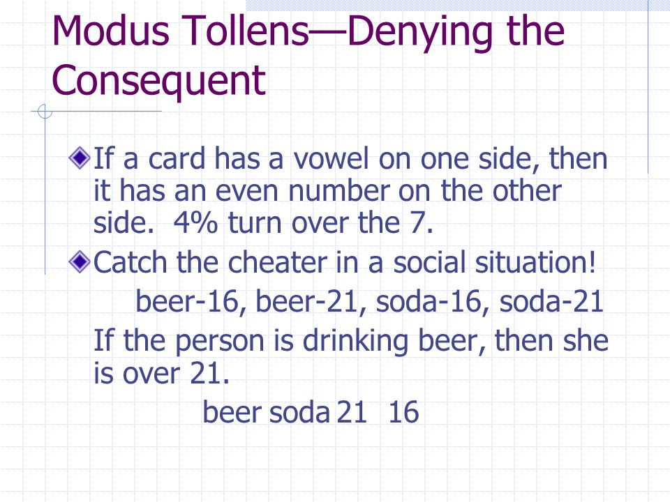 Modus Tollens—Denying the Consequent If a card has a vowel on one side, then it has an even number on the other side.