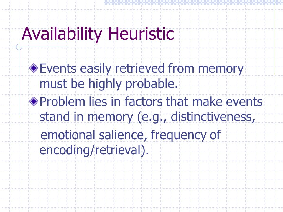 Availability Heuristic Events easily retrieved from memory must be highly probable.